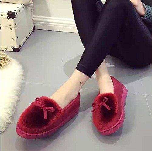 mhgao Ladies Casual interior cálido algodón Zapatillas de felpa zapatillas rojo vino