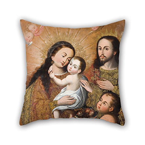 Oil Painting Anonymous Cusco School - Holy Family with Saint John and A Goldfinch Pillow Shams 18 X 18 Inches / 45 by 45 cm Gift Or Decor for Boys Home Office Boy Friend Pub Christmas Bar - Twin S