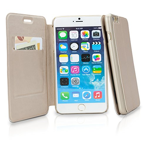 iPhone 6Plus Coque, BoxWave® [ultrapuff Étui à rabat] Portefeuille en cuir synthétique pour W/fente pour carte de crédit pour Apple iPhone 6Plus, 6S Plus–Champagne Or