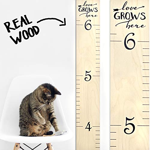 "Growth Chart Art | Wooden Wall Growth Chart Ruler for Kids, Girls + Boys | Measuring Kids Height Wall Décor | Naked Birch/Black Lettering ""Love Grows Here"" ()"