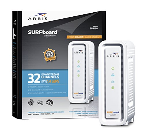 ARRIS SURFboard DOCSIS 3.0 Cable Modem (SB6190) Certified with Comcast Xfinity, Time Warner Cable, Charter, Cox, Cablevision, and more (White Retail Packaging)