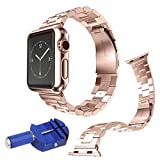 COOSA 38mm/42mm Stainless Steel Metal Clasp Watchbands Replacement Wrist Strap Classic Buckle Polishing Watch Bands for Apple Watch iWatch (Rose Gold, 38mm)
