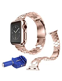COOSA 38mm/42mm Stainless Steel Metal Clasp Watchbands Replacement Wrist Strap Classic Buckle Polishing Watch Bands for Apple Watch iWatch (Rose Gold, 42mm)