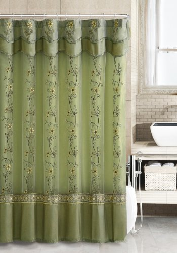 Two-Layered Embroidered Fabric Shower Curtain with Attached Valance (Sage)