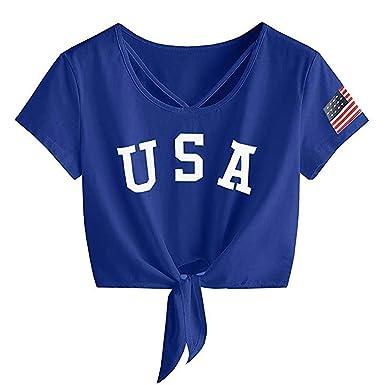 fb6f4696afc ANJUNIE Womens Letter Print Short Sleeve Crop Tops Cross Scoop Neck T-Shirt  Knot Front