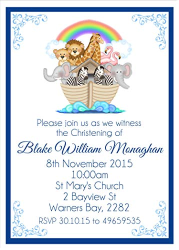(Noah's Ark Personalized Baptism, Christening, First Communion or Baby Dedication Invitations)