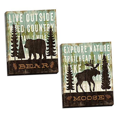 Rustic Forest Moose and Bear Set by Michael Mullan; Cabin Lodge Decor; Two 11x14in Canvases