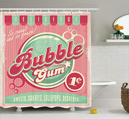 Ambesonne 1950s Decor Collection, Bubble Gum Chewing Delicious Candy Lollipop Sweet Sugar Advertise Poster Style, Polyester Fabric Bathroom Shower Curtain, 84 Inches Extra Long, Magenta Light Blue ()