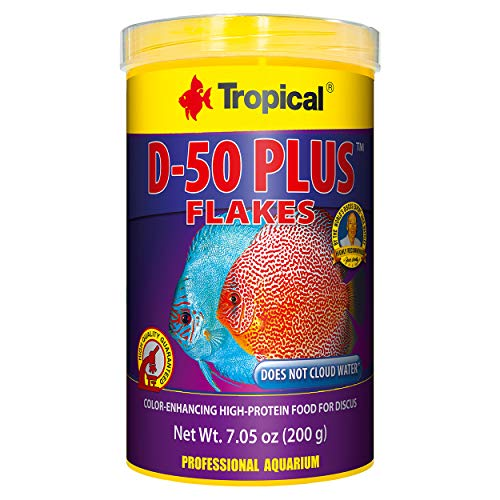 (Tropical USA D-50 Plus Flakes Fish Food Tin, 200g)