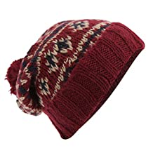 Mens Brushed Fairisle Pattern Winter Bobble Hat