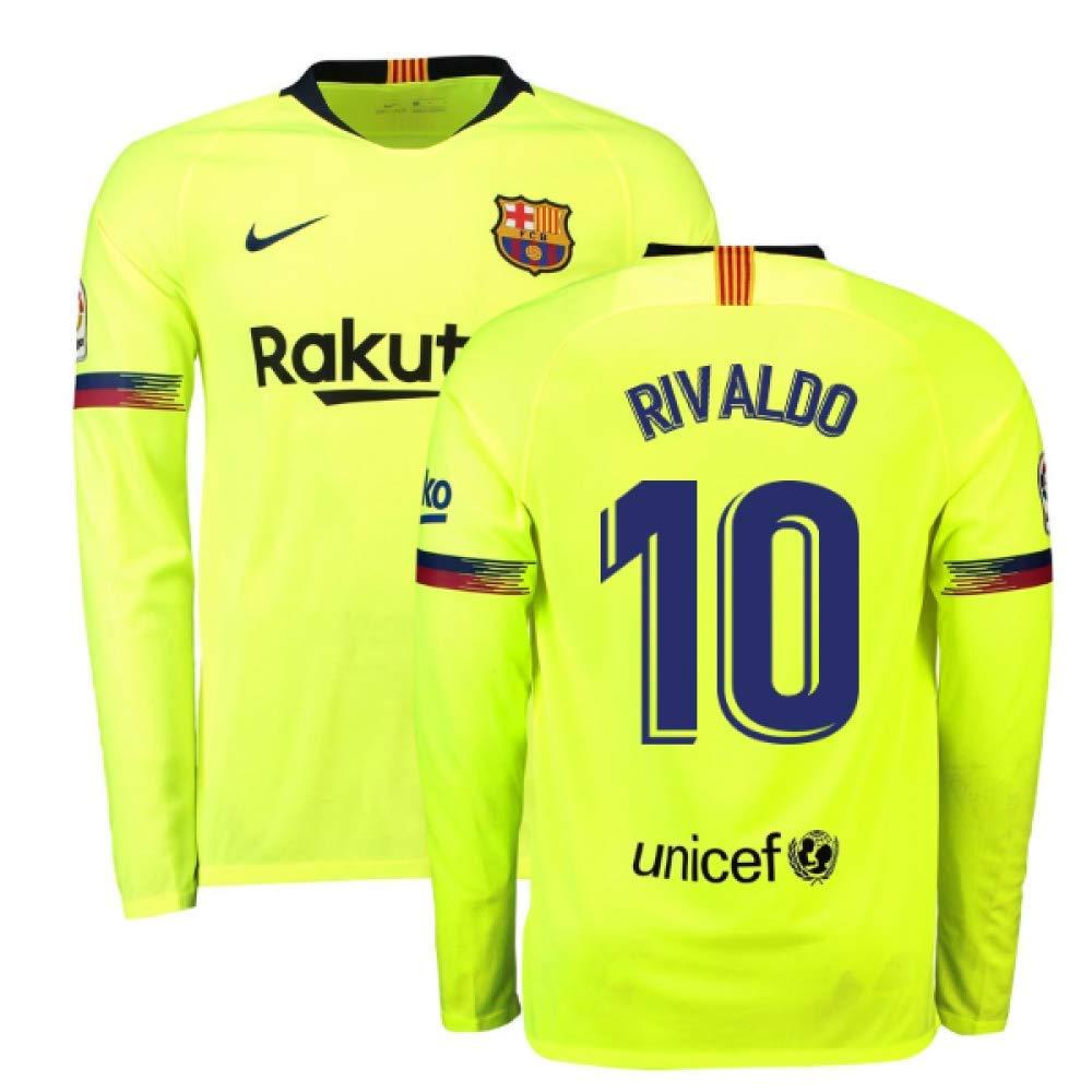 2018-2019 Barcelona Away Nike Long Sleeve Football Soccer T-Shirt Trikot (Rivaldo 10)