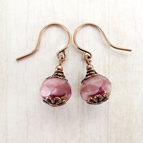 Pearly Dusty Rose Pink Artisan Glass Copper Bridesmaids Earrings with French Hook Ear Wires