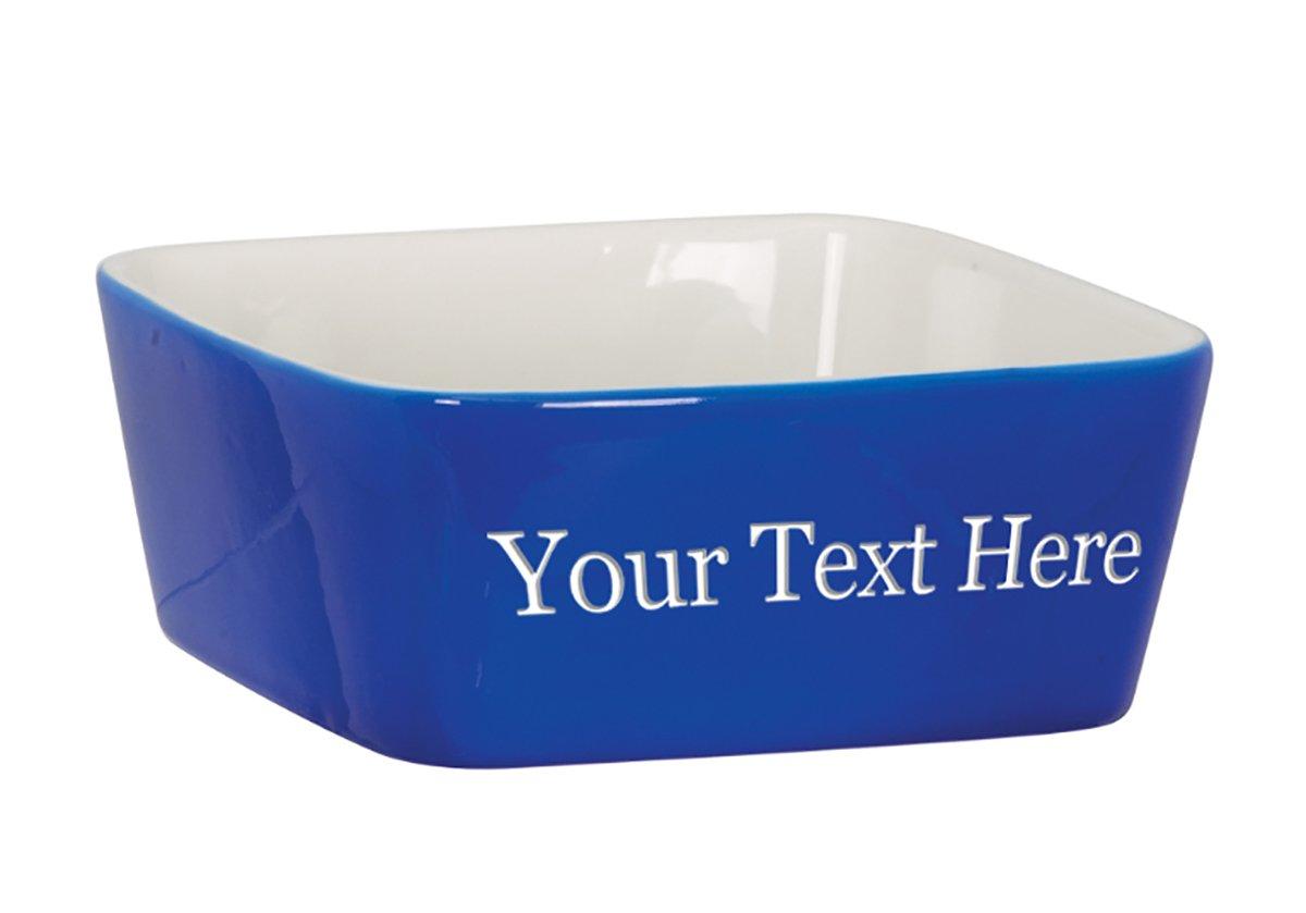 Customized 3D Laser Engraved Personalized Custom Ceramic Dog Pet Animal Bowl (Blue)
