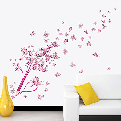 Cheap  BIBITIME Pencil Wall Art Pink Heart Butterfly Vinyl Sticker for Couple Lovers..