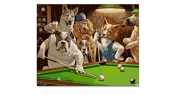 zhkn DIY Pintura Al Óleo Digital Mr. Dog Jugando Billar DIY ...