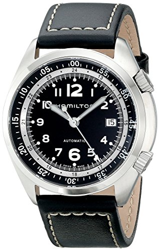 Hamilton Men s H76455733 Khaki Aviation Stainless Steel Watch with Black Leather Band