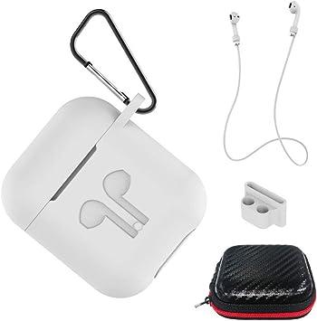 AICEK Funda Compatible para AirPods Silicona Carcasa para Apple AirPods 1 & 2 Protective Case Cover Accesorios con Cuerda Anti-pérdida,Mosquetón,Estuche, Blanco: Amazon.es: Electrónica