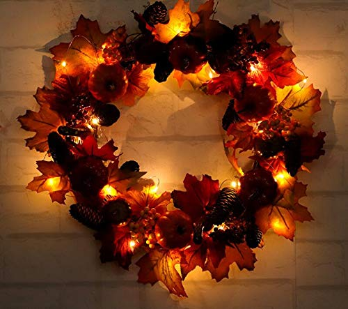 - Sevenpring Party Decor Supplies Thanksgiving Day Wreath with Pine Fruit Pumpkin Berries Autumn Wreath Led Lighting Garland for Home Mall Window Decoration(60cm)