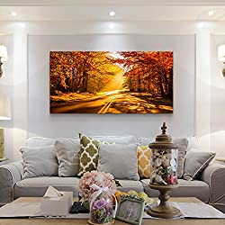 hyidecor art wall art Print picture Stretched Framed Ready Hang Flower Landscape Red Tree Flower Modern Painting Canvas Living Room Bedroom Office Wall Art Home Decoration (20 x 40inch x 1pcs)