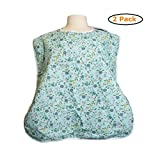 Waterproof Shirt Saver Bib - Size -Large (27'' x 23'') - Blue Floral - Pack of 2