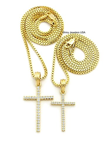 Shiny Jewelers USA MENS ICED OUT DOUBLE NEW CROSS HIP HOP PENDANT BOX CHAIN NECKLACE SET OF 2 (18