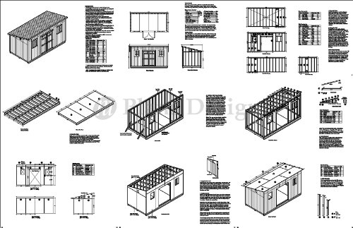 8' x 16' Deluxe Shed Plans, Modern Roof Style Design # D0816M, Material List and Step By Step Included
