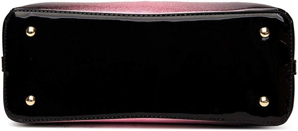 Mzdpp 2018 Mode Soden Tragbare Lackleder Damen Tasche Luxus Farbverlauf Persönlichkeit Design 3 Farben Pink
