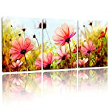 BPAGO Modern Flowers Painting Plateau Gesang Wall Decor Landscape Paintings on Canvas Wall Art for Living Room Bedroom Home Office Bathroom Decoration 12x16inch 3pcs Stretched and Framed Ready to Hang
