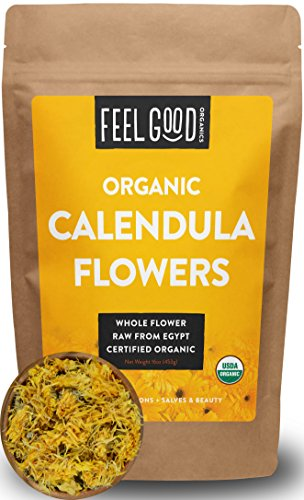 (Organic Calendula Flowers - Whole - 16oz Resealable Bag (1lb) - 100% Raw From Egypt - by Feel Good Organics)