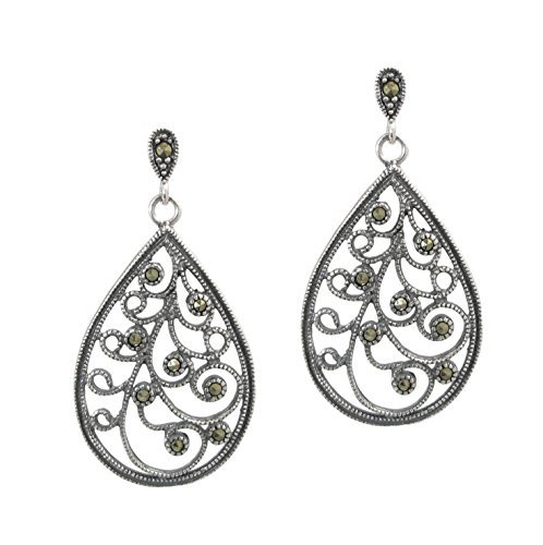 Queenberry Sterling Silver Teardop Antique Filigree Flower Dangle Earring with Marcasite Stud Post by Queenberry