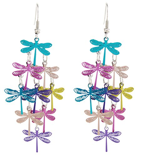 - DaisyJewel Metallic Mist Dragonfly Chandelier Dangle Earrings