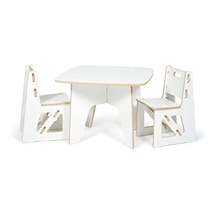 Modern Kids Table And Chair Set, White Folding Activity Table, American Made