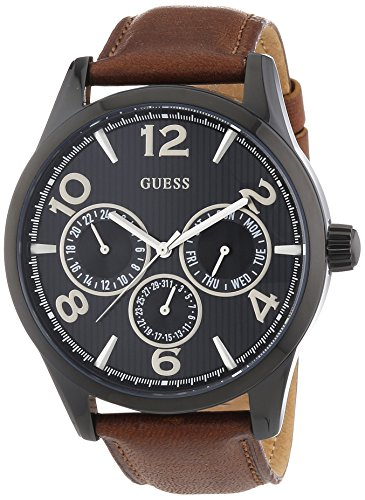 Guess W0493G3 Men's Trend Multifunction Brown Leather Strap Watch