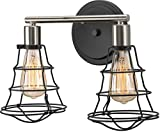 Luxury Vintage Bathroom Vanity Light, Medium Size: 11''H x 15.625''W, with Contemporary Style Elements, Charcoal Finish, UHP2420 from The Syracuse Collection by Urban Ambiance