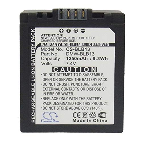 Sunsamy-CA Camera Battery, 1250mAh/9.25Wh 7.4V Camera Battery for Panasonic DMW-BLB13 DMW-BLB13E DMW-BLB13GK Lumix DMC-G1 Lumix DMC-G1 SLR Lumix DMC-G10,Backup Camera Cells