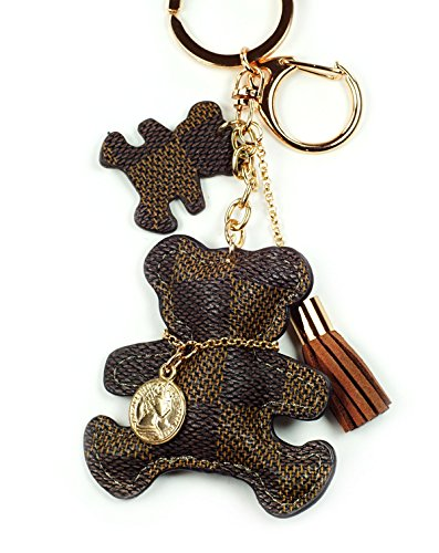 PU Leather Bear Keychain Check Canvas Patten Textile Tassel Handbag Key Charm Ring Pendant Chain (Brown Bear)