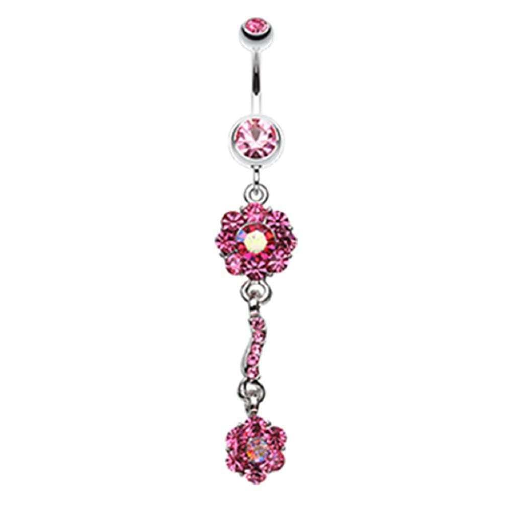 Freedom Fashion Dazzling Flower Blossom 316L Surgical Steel Belly Button Ring Sold Individually