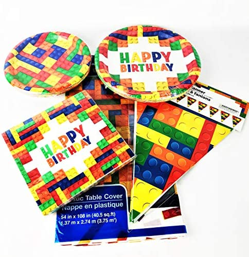 Building Block Party Supplies for 18 guests – Large and Small Plates, Tablecloth, Napkins & Flag Banner – Perfect Bundling for your Brick Theme Birthday Parties!