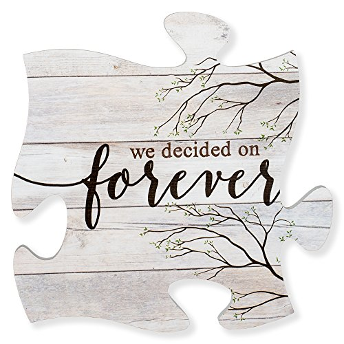 P. Graham Dunn We Decided On Forever Branches Distressed Wood Look 12 x 12 Inch Wood Puzzle Piece Wall Plaque ()