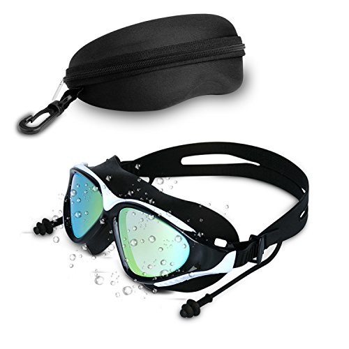- Tsuinz Swimming Goggles Men Women Professional No Leaking Anti Fog UV Protection HD Lens Swim Goggles Soft Silicone Frame Swim Glasses with Built-in Earplugs and Absorbent Case (White)