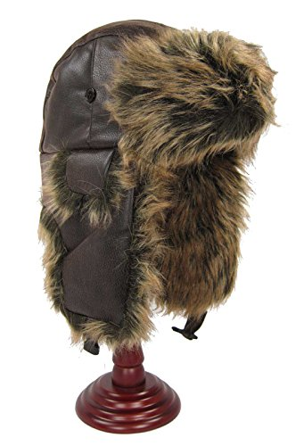 Men's Faux Leather Winter Trooper Bomber Hat with Ear Flaps (Large (58 cm), Brown)