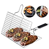 ACMETOP BBQ Grill Basket, Stainless Steel Grilling Basket with...