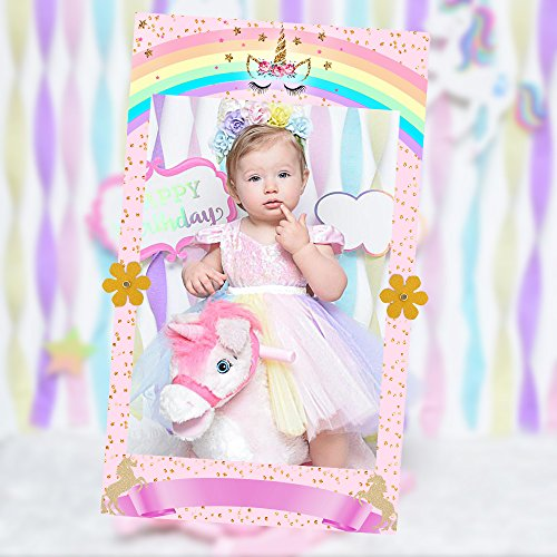 MORDUN Unicorn Party Supplies Photo Booth Prop Selfie Frame for Baby Shower Birthday Party Decorations - Double Sided Printed on Sturdy Foamcore Board