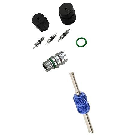 MagiDeal 8pcs Sistema de Aire Acondicionado Válvula de Llenado y kit de Núcleo con Herramientas de