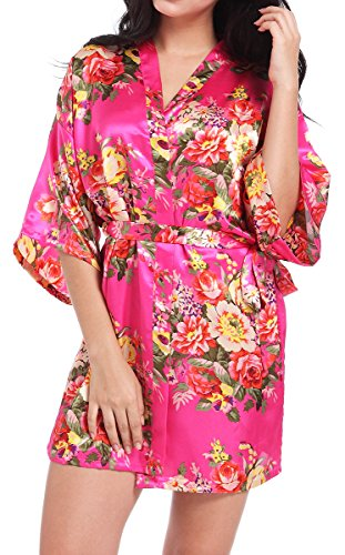 DF-deals Women's Satin Floral Robes for Bride and Bridesmaid Wedding Party Kimono Silk Robes Nursing Gown Short (XXX-Large/US 16-18, Rose)]()
