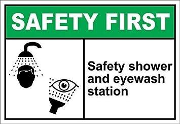 Señal de advertencia de seguridad para ducha y lavaojos, primera señal de tráfico, señal comercial, letrero de hojalata de aluminio de 8X12 pulgadas