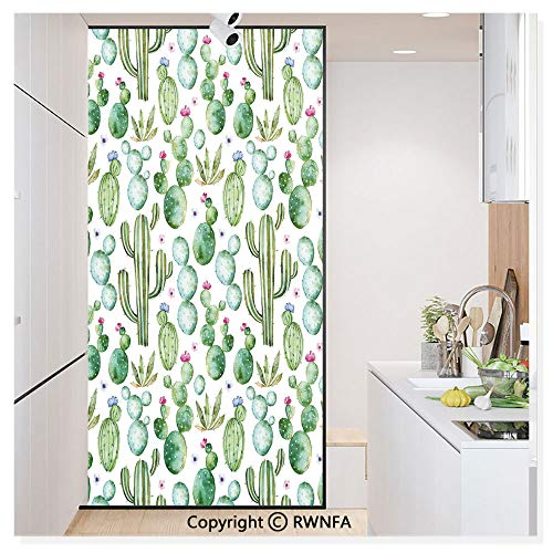 RWN Film Window Films Privacy Glass Sticker Mexican Texas Cactus Plants Spikes Cartoon Like Art Print Static Decorative Heat Control Anti UV 30In by 59.8In,White Light Pink and Lime Green ()