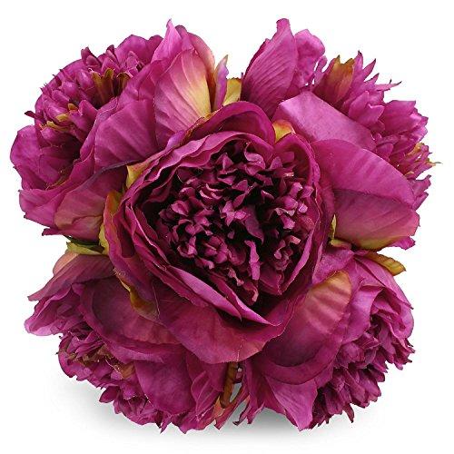 (Silk Peony Bouquet 5 Heads Purple SOLEDI Artificial Fake Flower Bunch Bouquet Bridal Bouquet Wedding Living Room Table Home Garden Decoration)