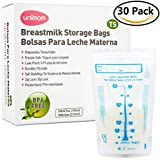 30 Thermal Sensor Breast Milk Bags – Shows when Milk is Frozen, Cold or Hot - Self Standing, Zip Top, Leak Proof, Freezer Safe – Pre Sterilized - BPA Free – 7oz – by Unimom