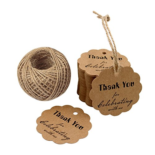 Round Baby Shower Labels (Thank You for Celebrating with US ,Kraft Paper Gift Tags, Round Thanks Label For Baby Shower, Bridal Wedding, Anniversary Celebration)